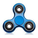 Blion Fidget Spinner Enfant ou Adulte - Roulement Haute Vitesse - Tourne 1 Minute -Triangle Spinner Fidget Toy Contre Stress Anxiété (Métal bleu foncé)