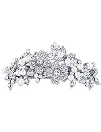 TENYE - Pasador de pelo de perlas de imitación de cristal austriaco para novia, color plateado claro