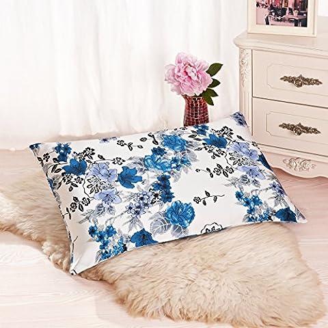Alaska Bear – Taie d'oreiller en soie naturelle, hypoallergénique, 19 Momme, 600 fils 100% soie naturelle de mûrier, 50 x 75 cm avec la fermeture Éclair dissimulée, Orchidée Bleu