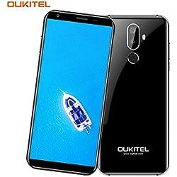 Telefonos Moviles, OUKITEL K5 - 5,7 Pulgadas (18: 9 Relación Visión Completa) 4G Smartphone Libre, 4000mAh Batería, 1,3GHz Quad Core 2 GB RAM de 16 GB ROM, Cámara de 5MP + 13MP, Android 7.0 Huella Digital GPS Dual SIM G-Sensor