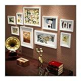 XUEYAN 9 Multi-Collage Fotorahmen, Massivholz Kombination Wohnzimmer Hintergrund hängen Wand-Dekor 41,3 * 21,3 Zoll