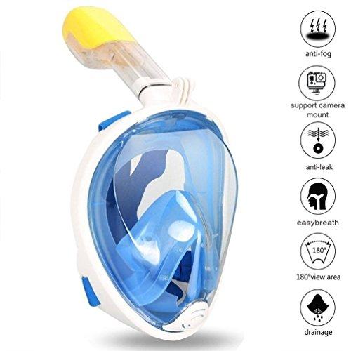 Zenoplige Schnorchelmaske Tauchmaske mit 180° Breitsicht mit Schnorchel und Anti-Beschlag, Blau S/M