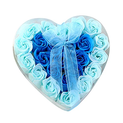 Sunnyuk Rose Seifenblume, 24 Köpfe Rose Bad Körper Blütenblatt Rose Flower Soap (Blau) (Blaue Hortensie Brautstrauß)