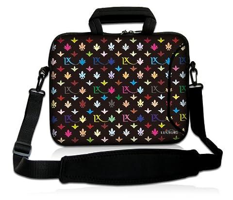Luxburg® 12,1 Zoll Laptop Tasche Hülle für Notebook Tablet Sleeve Neopren mit Schultergurt und Fach, Motiv: LX Muster (Ss Muster)