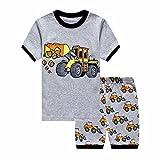 Showu Junge Baumwolle Kurzarm T-Shirt und Shorts Cartoon-Muster Bekleidungsset Set (Bulldozer, 2-3 Jahre)