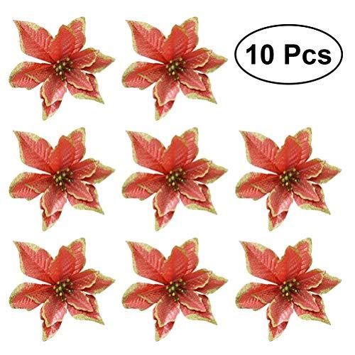 13 cm Glitter Künstliche Hochzeit Weihnachten Blumen Weihnachtsbaum Kränze Decor Ornament (rot) ()