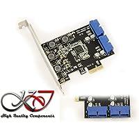 KALEA-INFORMATIQUE © - Carte Controleur PCI EXPRESS (PCI-E) vers USB 3.0 - 2 PORTS INTERNES SUPERSPEED USB3 19 POINTS - Chipset NEC - Equerres Low et High Profile fournies