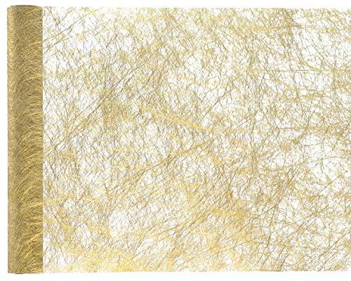 Runner da tavola Gold Metallic, in tessuto non tessuto di poliestere, 30 cm x 5 m, nastro da tavolo, decorazione natalizia + festa di Natale