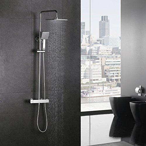 duschsystem regendusche Homelody Duschsystem mit Thermostat Regendusche Duschset Duschsäule Dusche Duscharmatur Brausethermostat Shower inkl. Verstellbar Duschstange Kopfbrause Handbrause