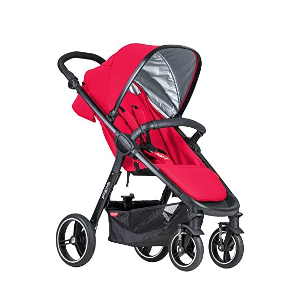 """Phil&teds Smart Buggy Pushchair, Cherry phil&teds Foot fold - intuitive, compact, one-piece standing foot fold - a world's first of its kind - is only 23"""" wide, making it perfect for tight city spaces Smooth ride tires - super-smooth, hassle-free riding with 10"""" rear puncture-proof, aerotech wheels and suspension on all four wheels; convenient hand-operated parking brake offers easy braking control at your fingertips Lightweight - stroller weighs 23.5 lbs. and includes a main, full-size seat that holds up to 44 lbs., an extendable leg and a sun hood with zip-out extension and silent peek-a-boo flap 1"""