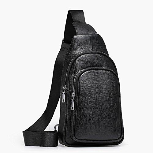 Dissa QN0003 Herren Leder Handtaschen Top Handle Satchel Tote Taschen Schultertaschen,17x9x20 B x T x H (cm) Schwarz