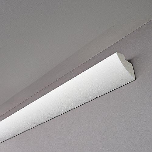 Decosa® G35 (Karoline), 1 Leiste à 2 m Länge - Dekorative Lichtleiste in Weiß für indirekte Beleuchtung von Wand und Decke - Die Stuckleiste ist kombinierbar mit LED Band oder Lichtschlauch - 45 x 42 mm