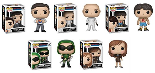 FunkoPOP Smallville Clark Kent Lex Luthor Clark Kent Shirtless Green Arrow Lois Lane Stylized TV Vinyl Figure Bundle Set NEW