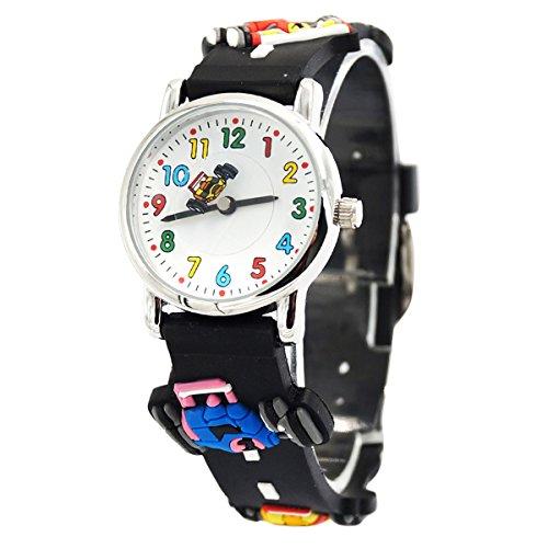 Willis Unisex Kinderuhr Mehrfarbig Student 3D Cartoon Uhr Größes Zifferblatt Armbanduhr Gummi Band Sportuhren für Jungen Mädchen Kinder-Schwarz Rennrad