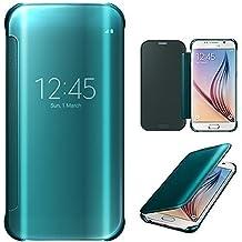 Xtra-Funky Serie Samsung Galaxy S6 Edge Plus inteligente Fecha / Hora Ver Espejo Brillante tirón del caso duro Con del sueño / Despierte Función - Azul Electrico