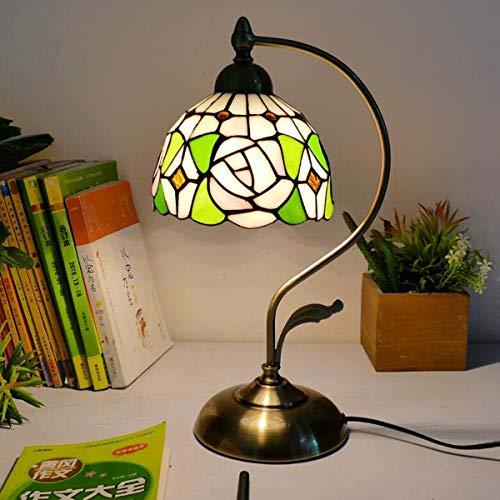 GDLight Tiffany Stil Schwanenhals Tischlampe Vintage Floral Glasmalerei Nachttischlampe Antik Kinder Schreibtisch Leselampe für Schlafzimmer Wohnzimmer,C