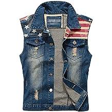 Herren Beilaufige Weste Denim Weste Cowboy Jacke Jeansweste Jeansjacke Zerrissen Oberteile Jacket