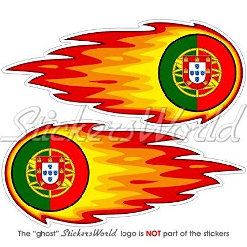 Portugal Portugais enflammé Fireball Fire 12,7 cm (125 mm) Bumper en vinyle autocollants, Stickers x 2
