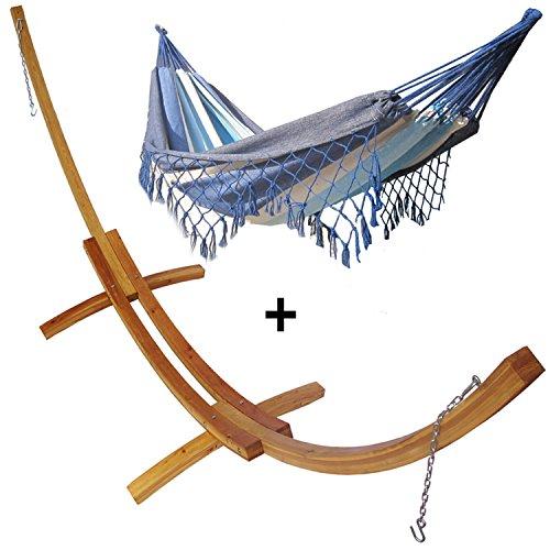Support demi lune double bois mélèze et son hamac double à franges marin, hamac détente