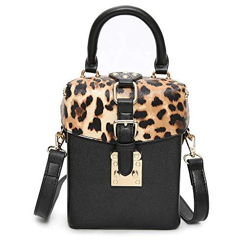 Leopard Fashion Tasche (DJKHSDJ Damen-Umhängetasche, Fashion Leopard Rivet Crossbody-Tasche, Box-Umhängetasche, Leopardenmuster)