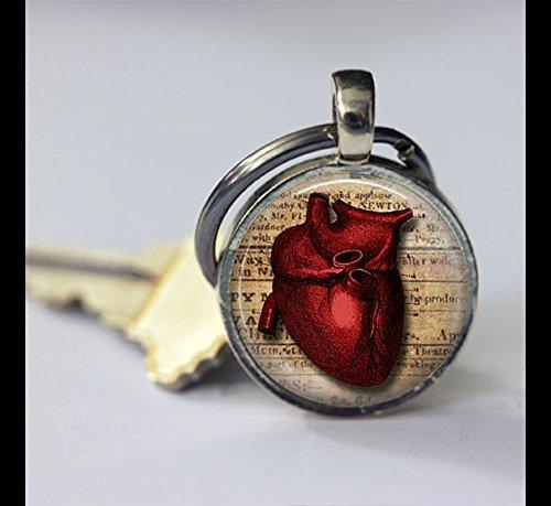 Schlüsselanhänger Vintage Anatomisches Herz Schlüsselanhänger, Vintage Herz Anhänger Schlüssel Kette Schlüsselanhänger, handgefertigt, Vintage Schmuck, Fashion Schmuck für Damen oder Herren (Anhänger Schlüssel Herz)
