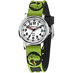 Jacques Farel reloj infantil para niños dinosaurio en acero 5 bar KST 0242