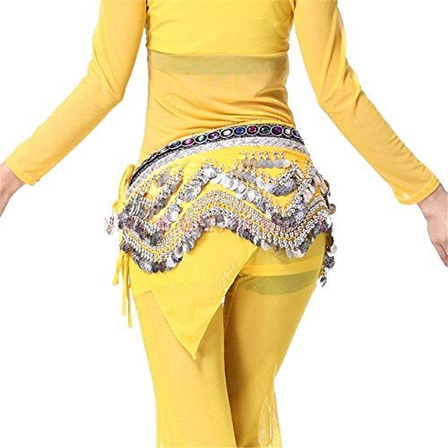 Dance Accessories Tribal Danse du ventre costume Hip écharpe With Bead Coins Hip jupe Costume yellow