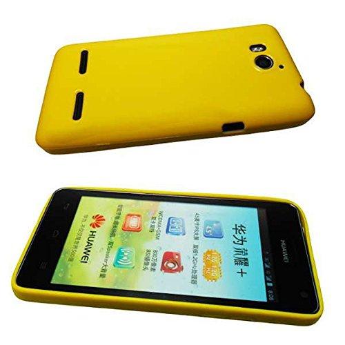 caseroxx Huawei Ascend G615 TPU-Bumper aus TPU, stoßfeste Schutzhülle Smartphone (Handyhülle TPU in gelb)