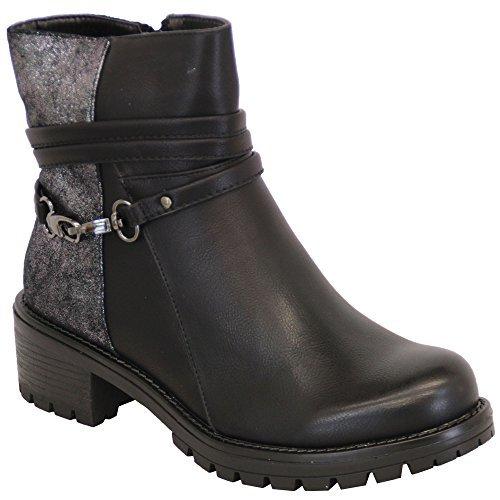 DONNA SCARPONCINI chelsea donna biker borchie tacco basso bordo superiore alto scarpe caviglia zip inverno Nero - A5