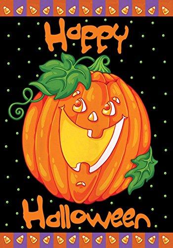 19268 Happy Halloween Garden Flag, Orange/Schwarz (Halloween Mais Süßigkeiten)