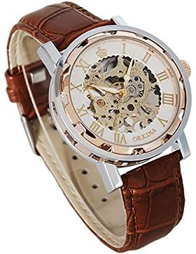 Gute Steampunk Bling Skelett Mechanische Armbanduhr roségoldenem Fall aufziehbar