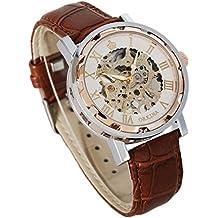 Reloj mecánico de pulsera Steampunk para hombres, de GuTe con correa de cuero, color marrón, esfera rosa dorada y blanca. Números romanos