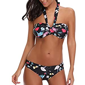 BYSTE Costume da Bagno Bikini, Push Up Sexy Stampa Fionda Senza Schienale Costumi da Bagno Due Pezzi, Swimwear Monokini… 5 spesavip