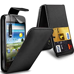 Gadget Giant Huawei Ascend G300 U8818 Black PU Leather Flip WALLET Case Cover & 3 Pack Of LCD Screen Protectors & Touch Screen Stylus- 2 Internal Card Slots