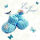 Swarovski Elements Geburt Grußkarte Handmade PopShot Ein Junge Babyschuh 8x8cm