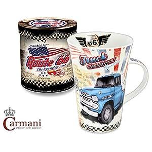 CARMANI - Véhicules anciens Collection - Tasse pour homme - Route conception 66 Chevrolet Spartan camions / Texas