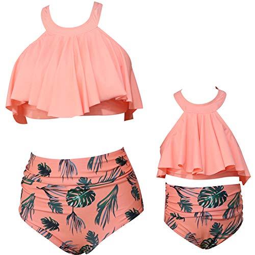 Shawnlen Mutter Tochter Bademode Eltern Kind Badeanzug abnehmbare Rüsche Neckholder hohe Taille Badeanzug Outfit Bikini Set 2 Stück (5-6T - Mädchen, Orange)