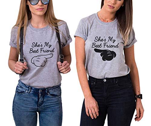 Best Friends Sister Tshirt für Zwei Damen Mädchen 2 Stücke Beste Freundin BFF Freunde T-Shirt Freundschaft Kurzarm Sommer Tops Baumwolle(Grau,Grau-Finger-L+Schwarz-Finger-L)