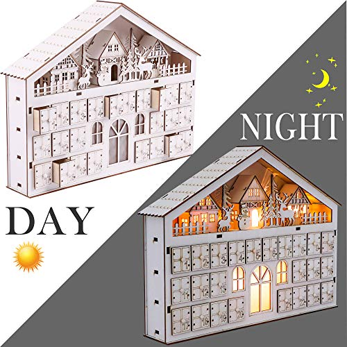 Valery Madelyn LED Christmas Countdown Advent Calendar Ornament, 15.3Inch/39cm 24-Day Pre-Lit Xmas Wooden Decoration with Lights for Tabletop(Woodland)