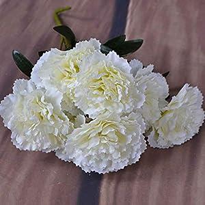 UHAoo 1 Rama 7 Cabeza Blanco Clavel Flor Artificial arbusto Boda/Tumba/florero/Decoración para el hogar Flores…
