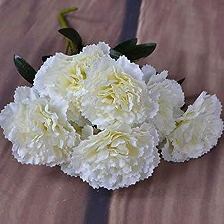 UHAoo 1 Rama 7 Cabeza Blanco Clavel Flor Artificial arbusto Boda/Tumba/florero/Decoración para el hogar Flores Artificiales