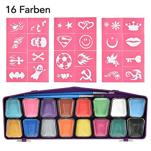 (16 Schminkpalette aus Metall mit 24 Schablonen für Gesichtsbemalung, Schminkasten Schminkset, Halloween-Partie, Schminkfarben Körperfarben)