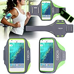 Samsung Galaxy A7 (2016) Armband, Green GBOS Super Thin, Sweat-Free, Gym, Running, Jogging, Walking, Hiking, Workout and Exercise Sport Armband For Samsung Galaxy A7 (2016) with Extra Adjustable-Length Extention Band & Key Slot