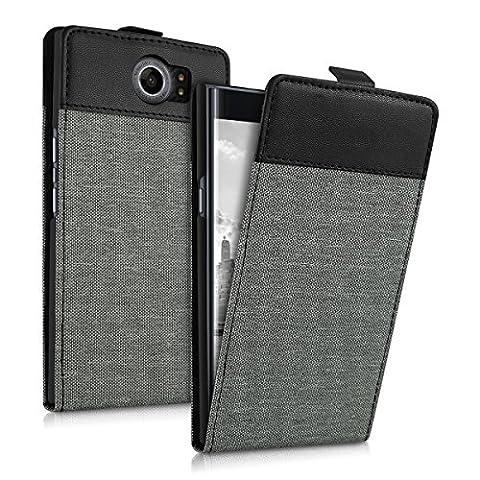 kwmobile Flip Style housse pour Blackberry Priv - Étui de protection rabattable en toile canvas et cuir synthétique en style flip case en gris noir