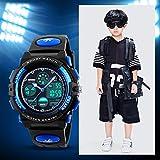 Amstt Unisex Sport Kinderuhren Jungen Mädchen Digital Wasserdichte Alarm Armbanduhr für das Alter 7-15 Jahre alt Kinder (Blau) -