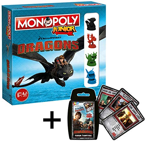 Winning Moves Monopoly Junior 2nd Edition Dragons Spiel Brettspiel deutsch im Bundle mit Top Trumps Dragons - Die 30 besten Momente