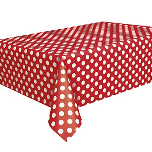Sukisuki - Mantel desechable de plástico con lunares (9ft x 4.5ft), plástico, Rojo, talla única