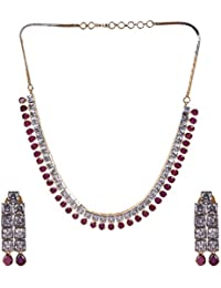 Ratnavali Jewels American Diamond CZ Gold Plated Designer Jewellery Set/ Necklace Set With Chain & Earring For...