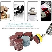 Disco de lija de 25 mm con disco de lija 100 180 240 1500 3000 grano de papel con pulido abrasivo de 2,54 cm + vástago de 0,63 cm para herramienta rotativa Dremel