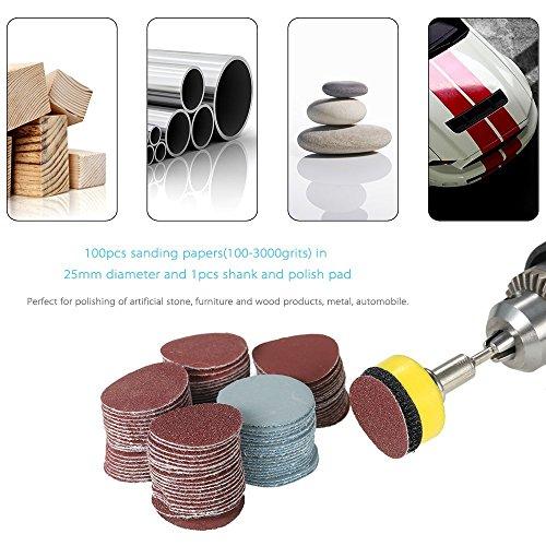 25mm 2,5cm Sander Disc Schleifscheibe 10018024015003000Körnung Papier mit 2,5cm Schleifmittel Polish Pad Teller + 1/20,3cm Schaft für Dremel Rotary Werkzeug